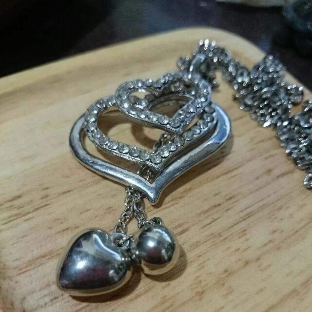 項鍊 - 銀色三愛心雙垂釣白鑽