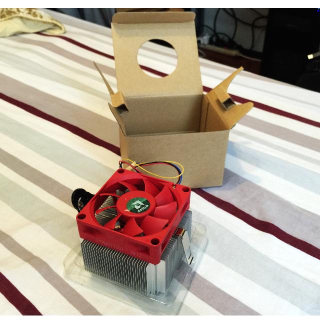 [全新] AMD 原廠CPU散熱器 紅色風扇‧無熱導管