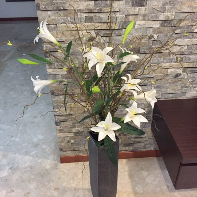 Fake Lilies Flower Arrangement With Vase Furniture On Carousell