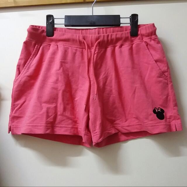 轉賣OB嚴選 迪士尼米妮抽繩運動短褲 粉紅色XL