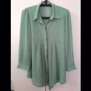 Poplook Haley Blouse In Mint