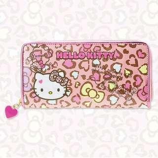 正版授權Sanrio Hello kitty 愛心豹紋長夾皮夾拉鍊頭是實實在在的愛心捏