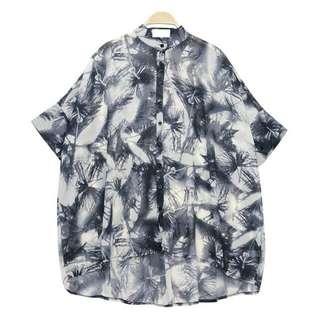 預購🙇 歐美立領短袖光影椰子樹雪紡衣