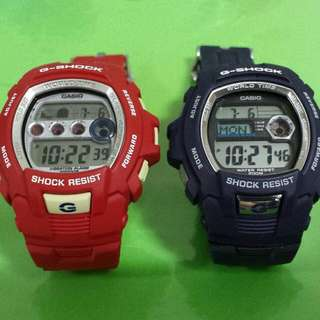 Casio G-Shock G-7510 Telememo & G-Lide GL-7500 Moon Phase Tide Graph Pair