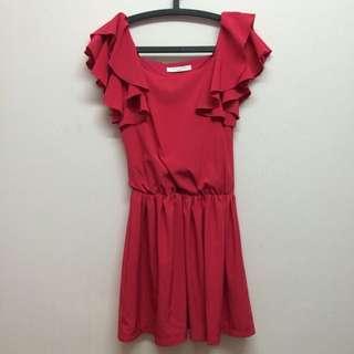 質感玫瑰紅雪紡洋裝-保留中