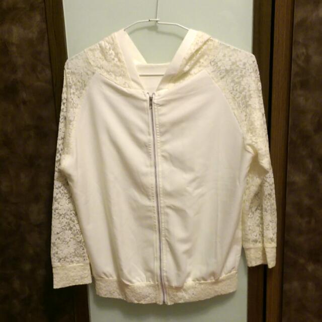 🈹 白色網紗連帽小外套.