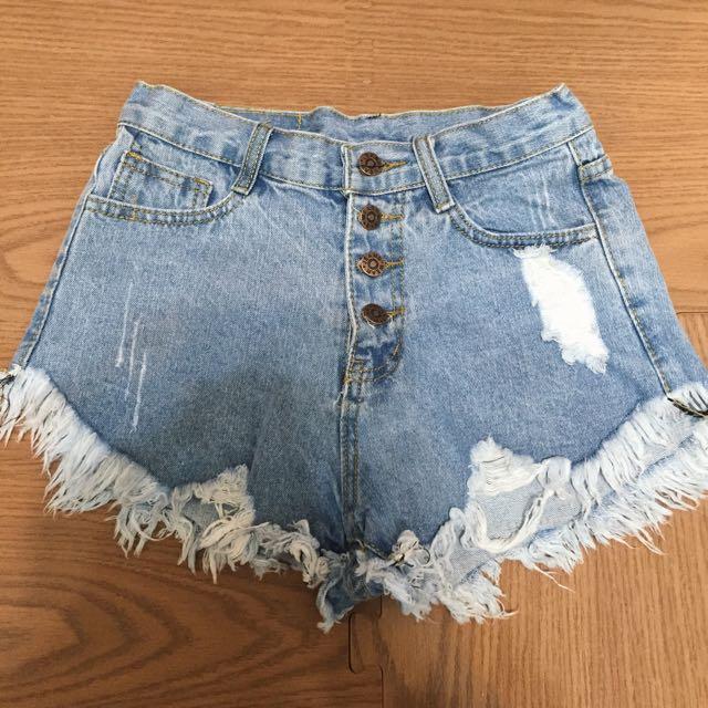 高腰牛仔短褲-淺藍
