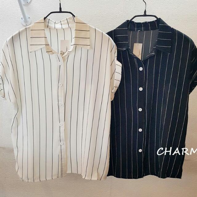 白色直條襯衫 (全館滿300免運)