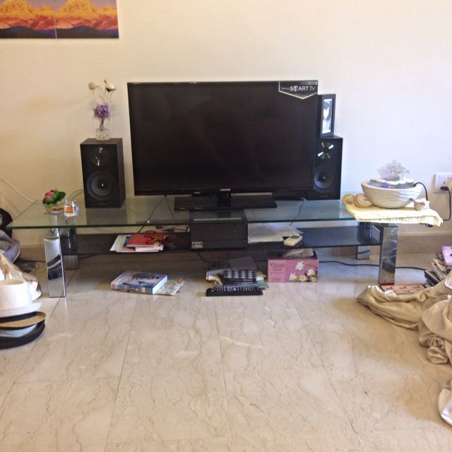 Glass Side Table And TV Table/console