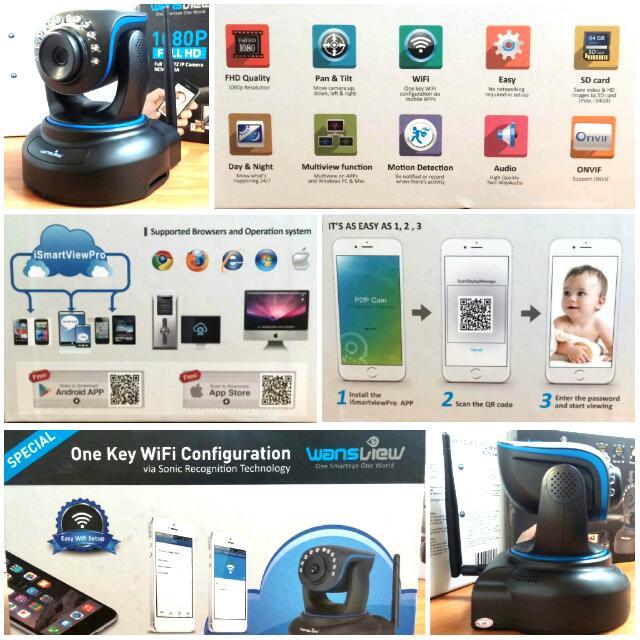 Wansview 1080P Full HD PTZ IP Camera, Electronics on Carousell