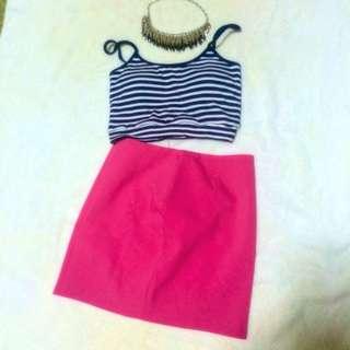 高腰桃紅色窄裙