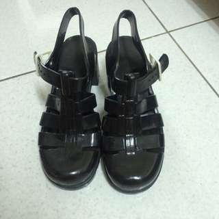Juju Eu38 黑色 果凍 跟鞋