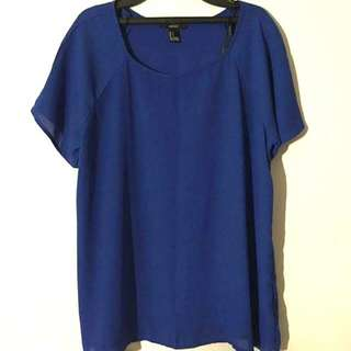 Forever 21寶藍雪紡衫