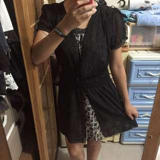 灰格黑色連身雪紡洋裝