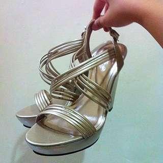 全新ALDO金銀色厚底高根鞋
