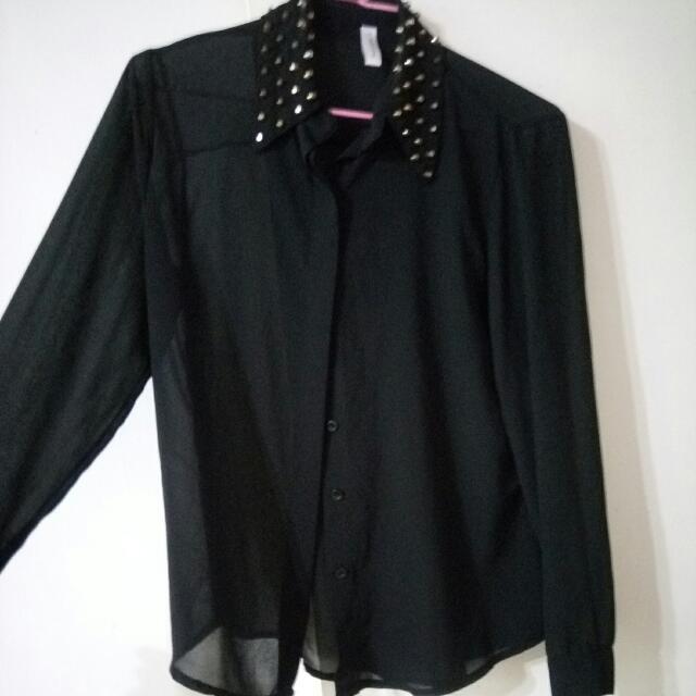 黑色透膚 雪紡紗 鉚釘 襯衫