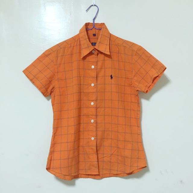 橘條紋短袖襯衫