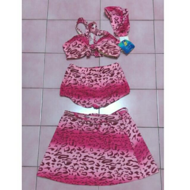 全新 粉紅 豹紋 泳衣 泳裝 泳帽