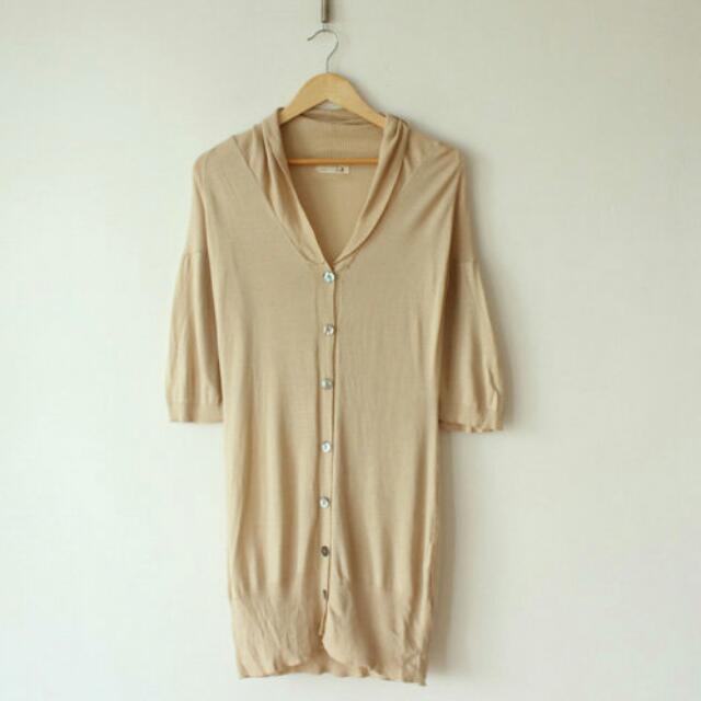 日本 日牌SM2日單駝色貝殼扣連帽長版針織五分袖小外套(SHIN kashin 小穎 PAZZO)