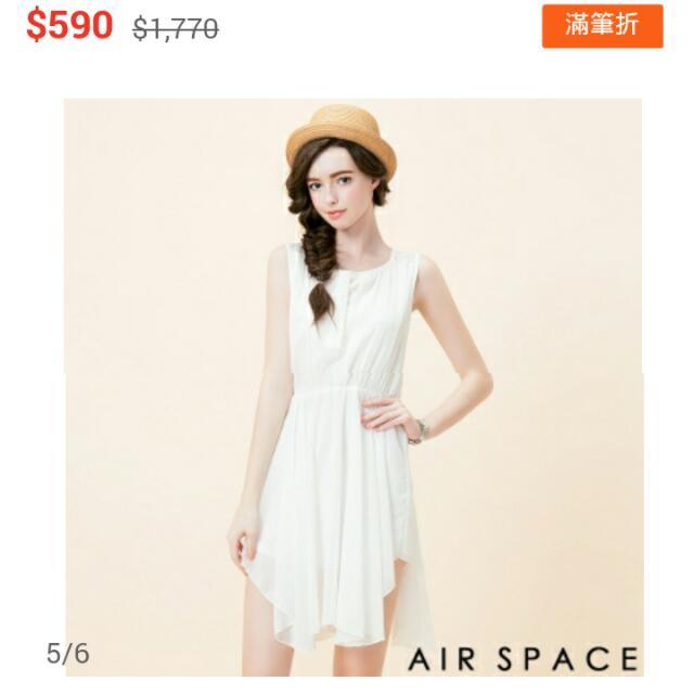 (保留)AIR SPACE無袖不規則裙擺雪紡洋裝 黑色