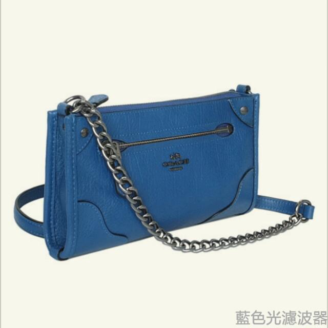 COACH單寧藍荔枝紋全皮金屬鍊帶方型斜背小包