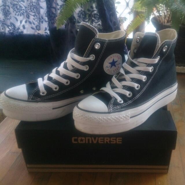 (保留)Converse經典黑色高筒厚底帆布鞋