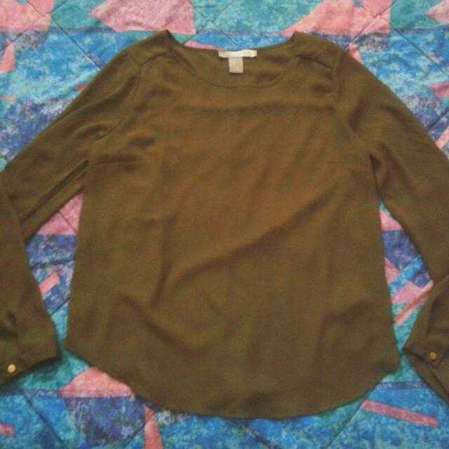 Love21 Olive Green Blouse