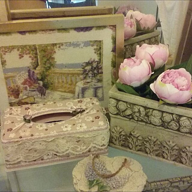 Tissue Box, Stitched Painting, Flower Box And Decorative Plate