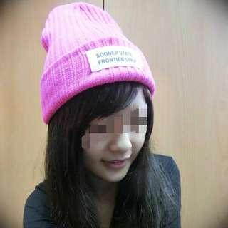 〔全新〕螢光桃紅時尚毛帽