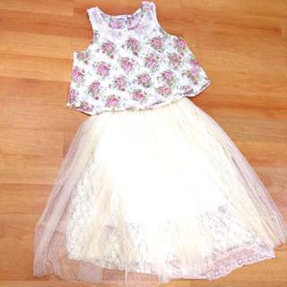 1set F21 Lace Floral Top & Tulle Skirt