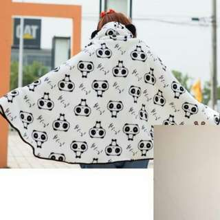 🚚 熊貓披風斗篷披肩外套空調毯