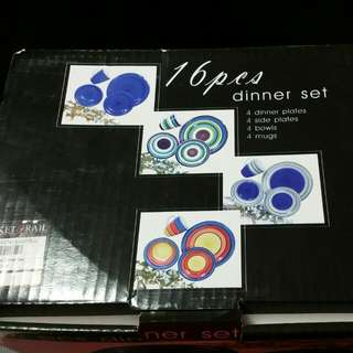 16 Pcs Dinner Set (Plates Etc Etc) Blue Colour Design
