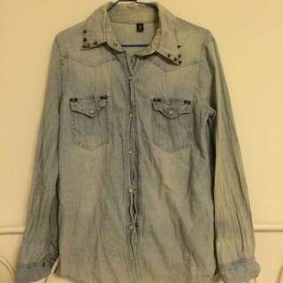 卯釘復古刷色牛仔襯衫外套