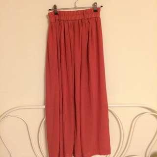 西瓜紅雪紡氣質長裙