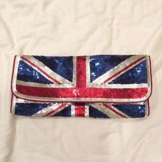 Accessorize英國國旗亮片手拿肩背兩用包
