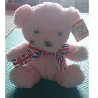 全新 粉紅英倫風小熊