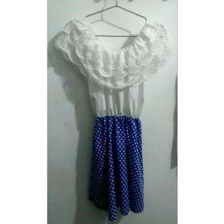 藍點點蕾絲縮腰裙