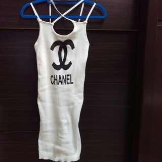 近全新,香奈兒chanel字彈性貼身小洋裝