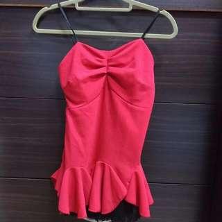 全新,正紅性感,立體蕾絲裙擺小可愛