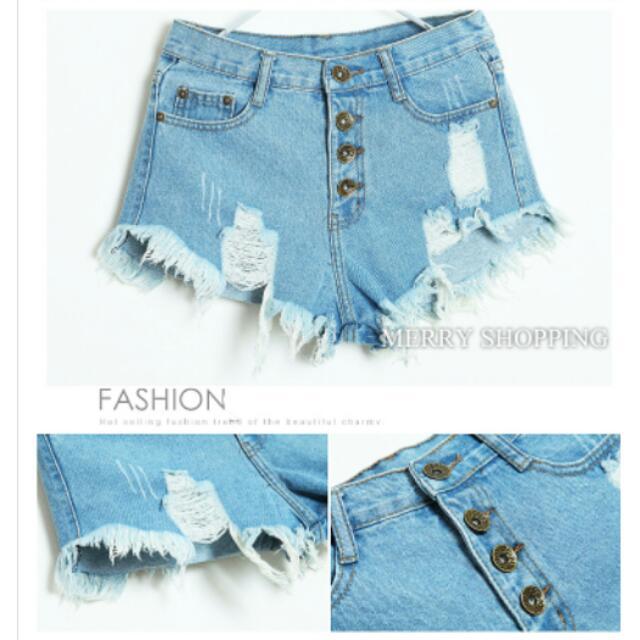 🏧待匯款🏧淺藍高腰排釦牛仔短褲