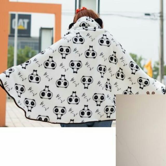 熊貓披風斗篷披肩外套空調毯