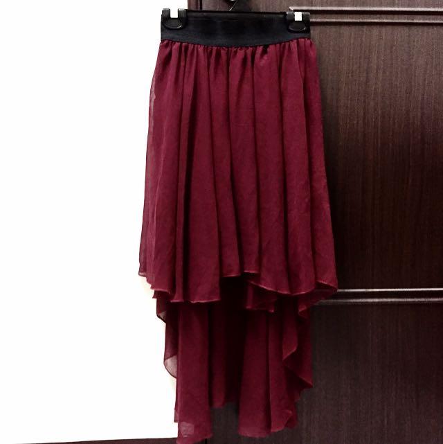 酒紅色不規則雪紡紗裙