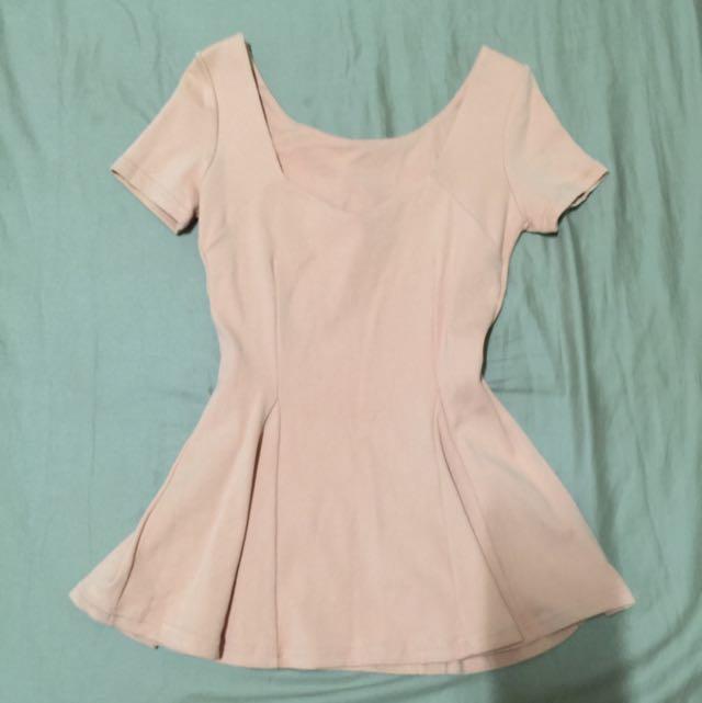 顯瘦腰身洋裝「粉橘」