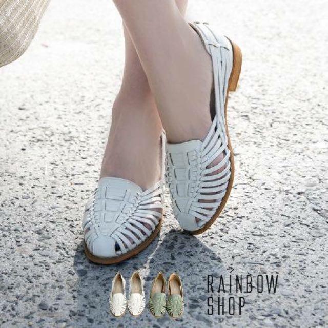 轉賣*甜美復古編織涼鞋 rainbow shop