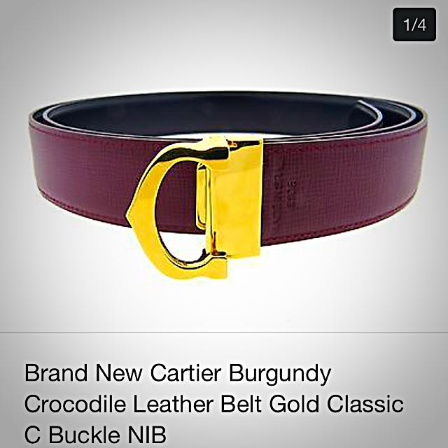 2f64cd56822db Cartier Red Burgundy Leather Belt With Gold Classic C Buckle, Luxury ...