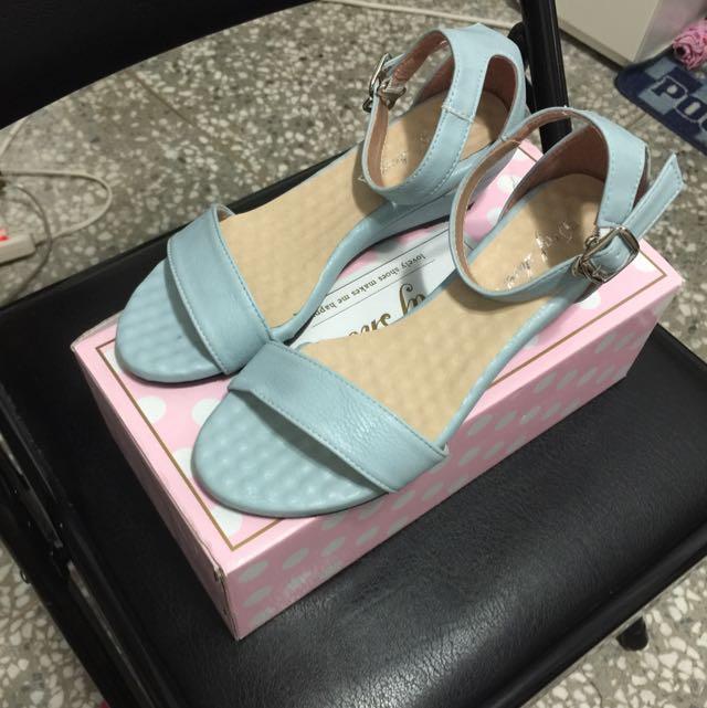 D+F涼鞋 馬卡龍色(藍)全新