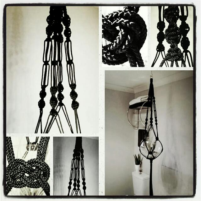 Handmade Black Macramé Hanger