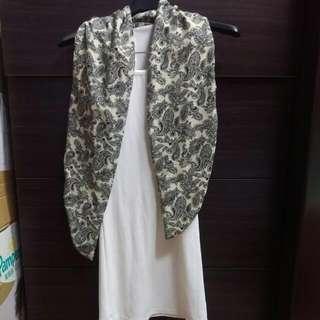 全新,羽毛圖騰圍巾連身小洋裝