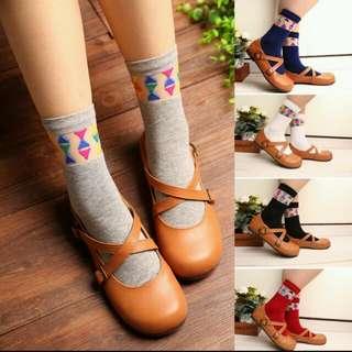 現貨☑日系小彩格玻璃絲短襪