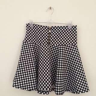 ⚠️含運®黑白格紋高腰鬆緊短裙